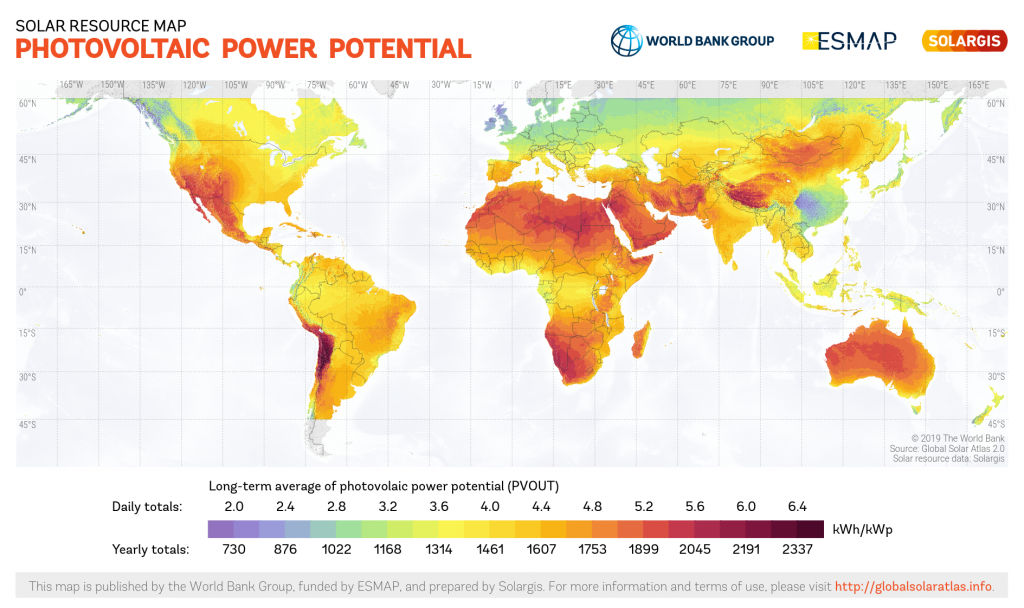 A map of sunlight and solar efficiency across different regions the world